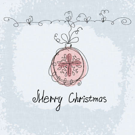 Christmas vector card with hand draw text Merry Christmas  New Year postcard in Retro style Vector