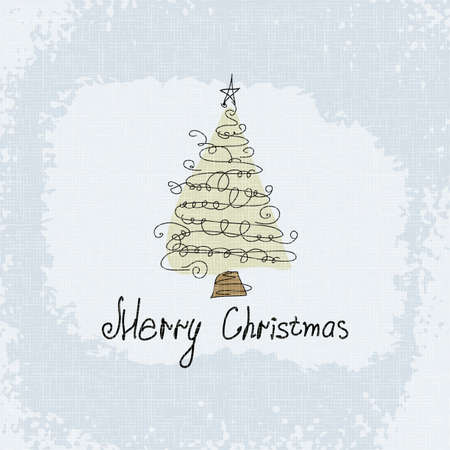 Doodle card - abstract christmas tree  Vector merry christmas