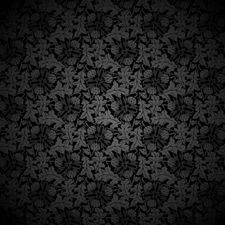 Black texture background Seamless Floral Pattern  Vector