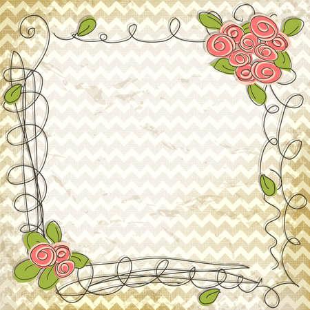 Bloemen doodle frame op vintage chevron zigzag achtergrond Stockfoto - 18642393