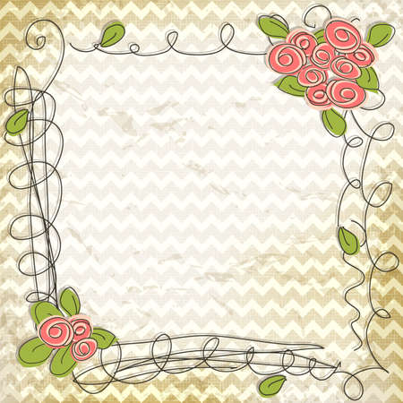 Floral doodle frame on vintage chevron zig zag background Vector