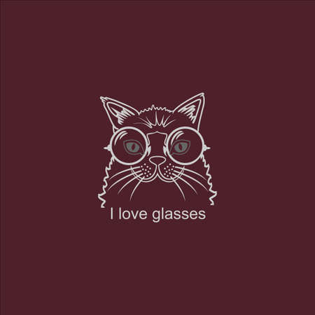 Hipster Cat in Big Glasses Vector