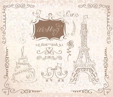 LOVE in Paris doodles vintage sketch