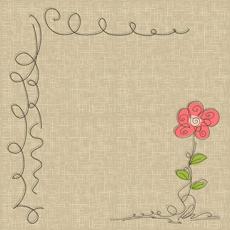 linen texture: Flor del doodle abstracto en fisuras patr�n de lino de textura de fondo Vector Vectores