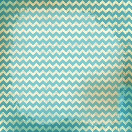 chevron background: vector chevron background on linen turquoise canvas texture. Vintage rustic burlap zigzag Illustration