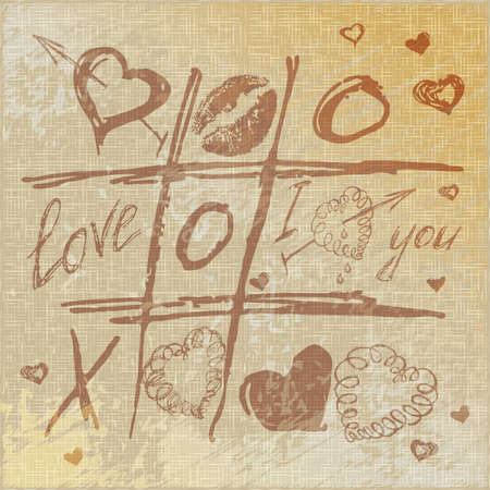 zeroes: vector Hand drawn Tic Tac Toe Hearts, Valentine linen canvas background. The valentines day. Love heart. Hand-drawn icons symbols. Art vintage illustration.
