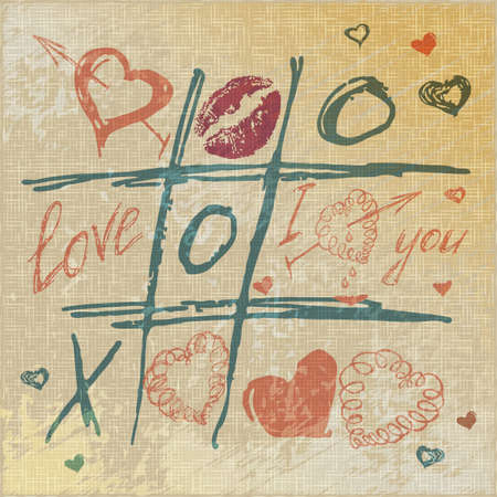 vector Tic Tac Toe Hearts, Valentine background. The valentines day. Love heart. Hand-drawn icons symbols. Art vintage illustration. Print for burlap textile. Vector