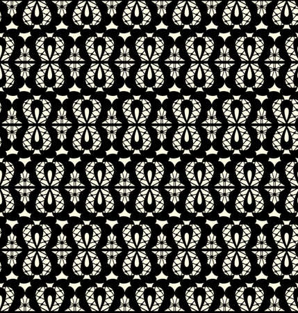 Vector black lace seamless pattern on white background Vector