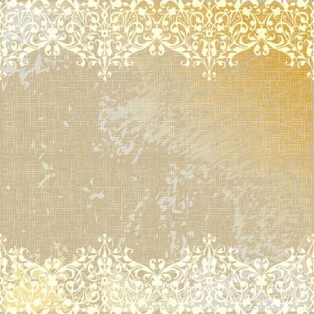vector vintage linen canvas burlap floral background illustration Vector