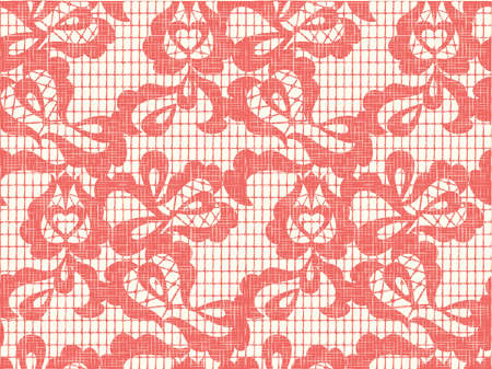 vector fabric: Lace vector fabric seamless pattern with linen canvas background.