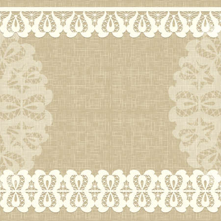 çuval bezi: Beyaz dantel ile kart. Keten tuval Floral Background. Vektör tebrik kartı. Çuval bezi dokusu Düğün davetiyesi. Çizim