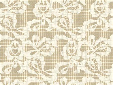 çuval bezi: Keten kanvas arka plan ile dantel vektör kumaş seamless pattern. çuval bezi desen