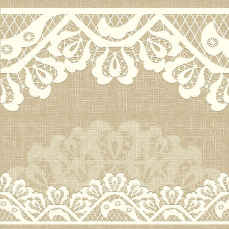 Abstract lace ribbon seamless pattern with elements flowers. burlap canvas linen background Template frame design for card. Lace Doily. Can be used for packaging, invitations, and template.Vector lace ornament Illustration