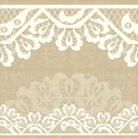 Cinta de encaje Resumen sin patrón con elementos flores. fondo de lino tela de arpillera diseño del marco del modelo para la tarjeta. Encaje de blonda. Puede ser utilizado para el envasado, las invitaciones, y template.Vector del ornamento del cordón