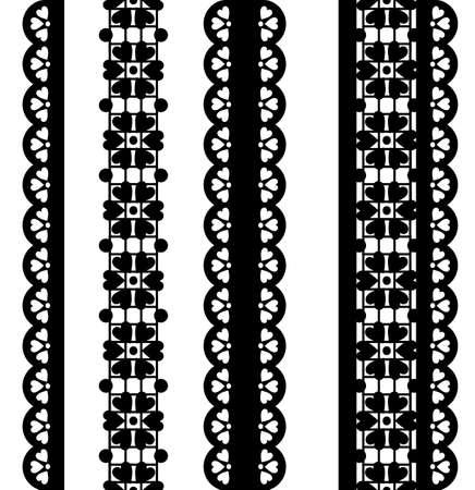 festonati: Insieme dei bordi di vettore carino. pizzo nero
