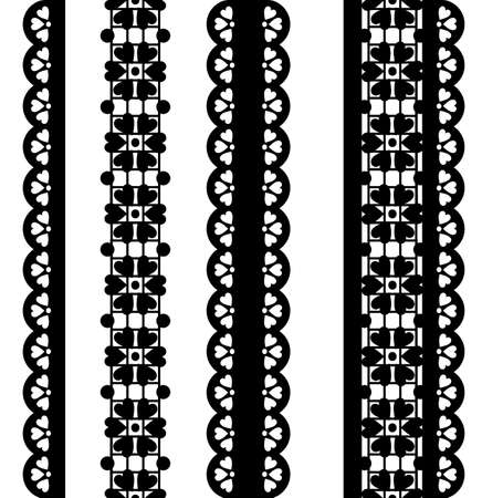 Set of cute vector borders. black lace Stock Illustratie