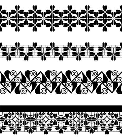 Set of seamless lace borders, vector illustration Vector