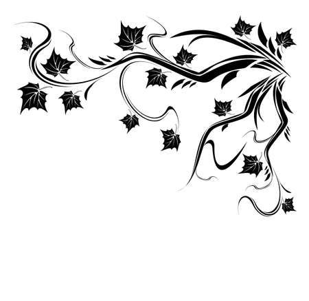 Vector Stylized Black tree with leaves. maple tree branch