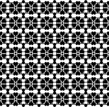 Vector Seamless vector pattern with white and black flowers Vector
