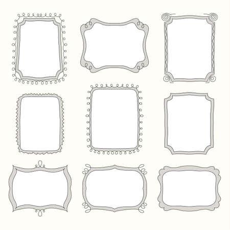 vector Set of doodle frames and different elements Illustration