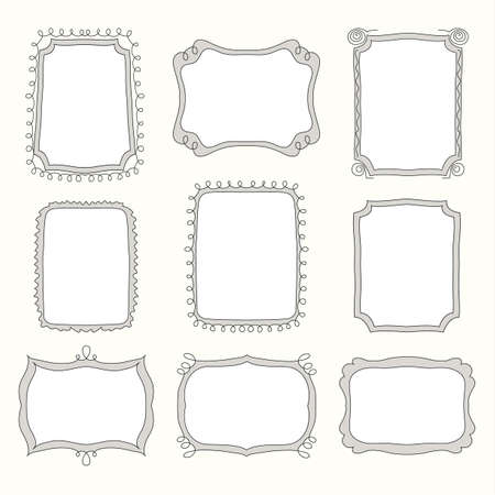 vector Set of doodle frames and different elements Ilustração