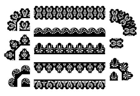 black lace: vector set of lace trims. seamless borders Illustration