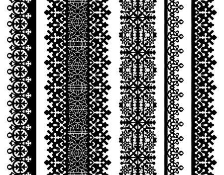 Vector Set van zwarte kant grenzen geïsoleerd op wit