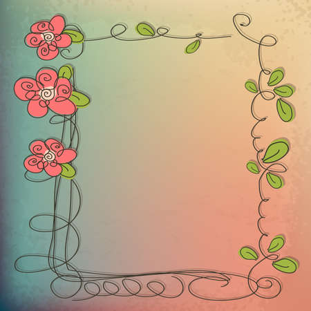 Stylish floral background, hand drawn retro flowers roses