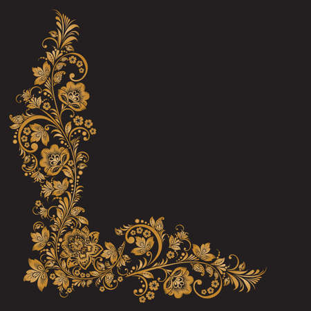 folk: Vector background of floral pattern with traditional russian flower ornament.Khokhloma. black and gold