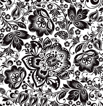 Vector floral seamless pattern. Russian traditional ornament Hohloma. black and white background