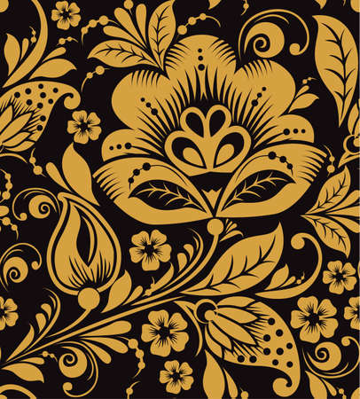 Hohloma floral seamless pattern Vector russian ornament