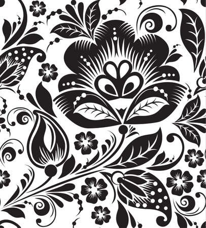 Vector seamless pattern with black flowers on white background Vector