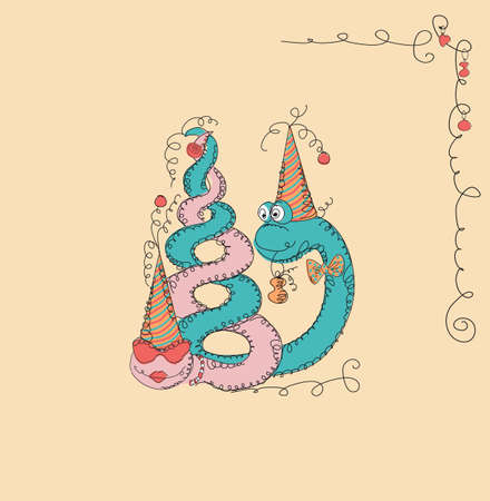 Hipster character, doodle hand drawn vector illustration with fashion snake. happy new year Vector