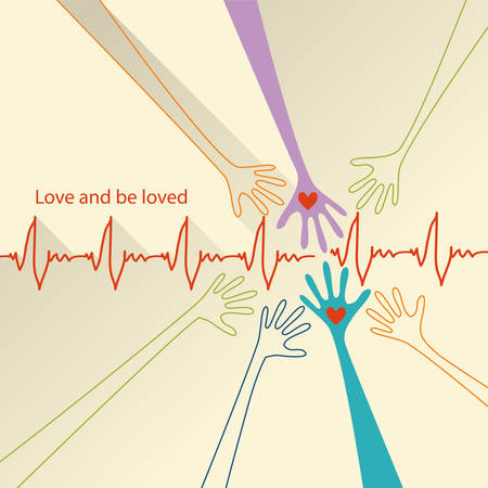 love and be loved. Vector conceptual background with place for your text Vector