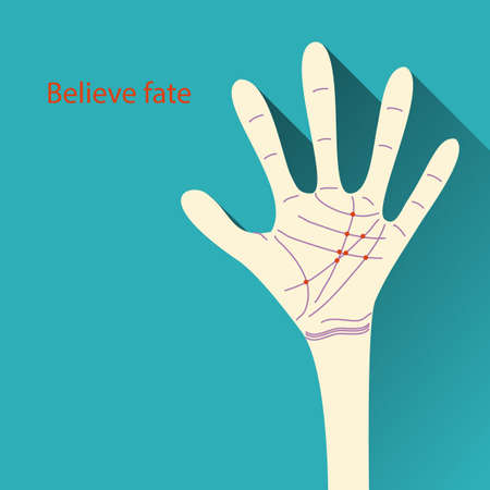 Vector Concept Believe fate. illustration of palmistry map on open palm on abstract background Stock Vector - 27157231