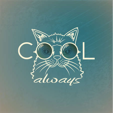 Funny muzzle cat in sunglasses closeup. Cool always. portrait cool cat Vector