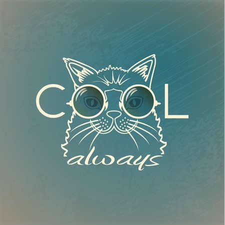 Funny muzzle cat in sunglasses closeup. Cool always. portrait cool cat