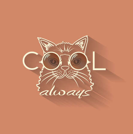 Vector Fashion Portrait of Hipster Cat in Big Glasses. Cool cat Vector