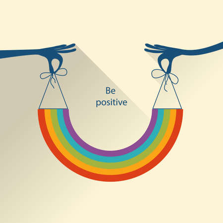 Colorful Positive background. Be positive. Concept Vector