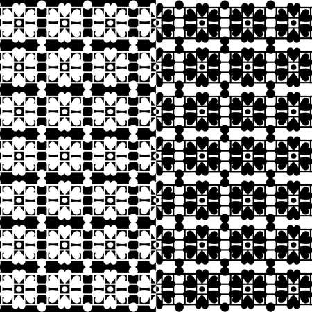 Black lace texture on white, seamless vector pattern Vector