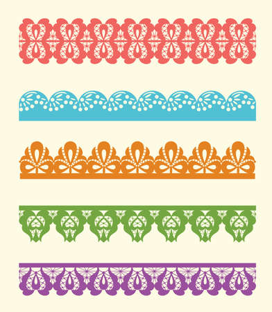 vector set of colorful lace trims Vector
