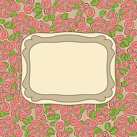 glamorous: vector Glamorous doodle roses frame with linen burlap background