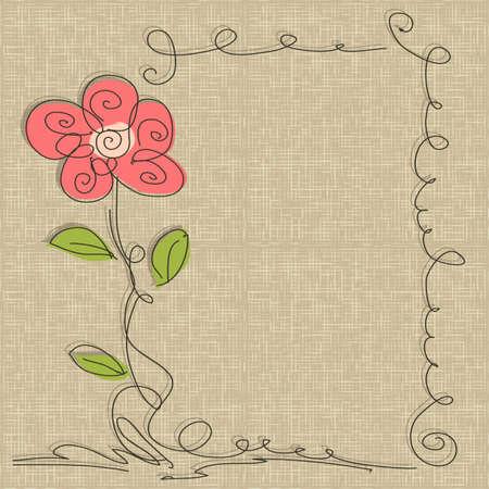 çuval bezi: keten çuval arka plan ile vektör Glamorous doodle çerçeve Çizim