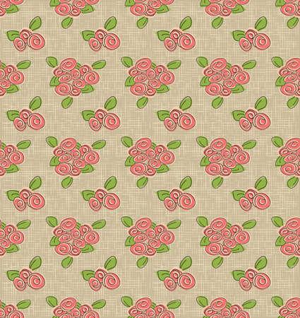 elegantly: Rose vector doodle vintage seamless pattern
