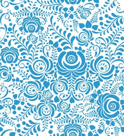 White and blue elegance seamless pattern in Russian style gzhel Vector