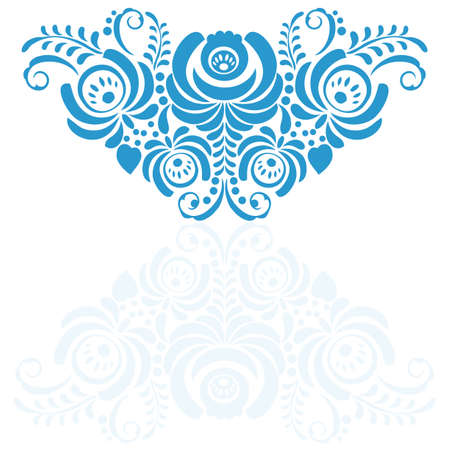 Ornate elegant vector floral frame in Gzhel style. Flower background Vector