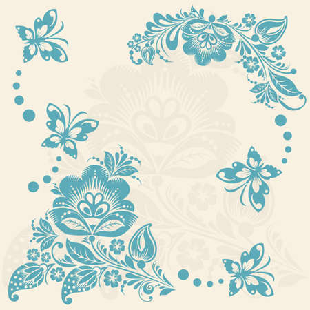 Vector Abstract floral background with butterflies. elements of flower