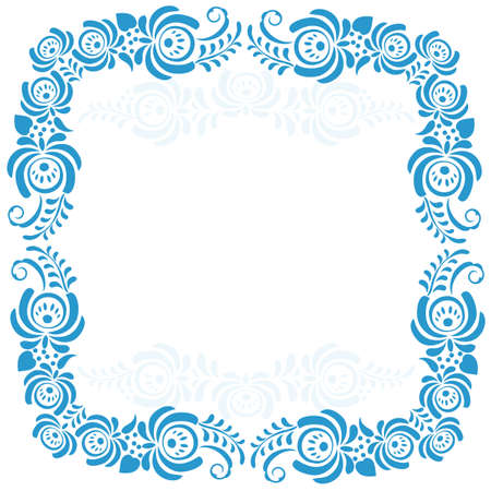 Russian ornaments art frames in gzhel style. Gzhel.  Brand of Russian ceramics, painted with blue on white Vector