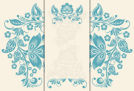 Vector Wedding invitation cards with floral elements. Vector
