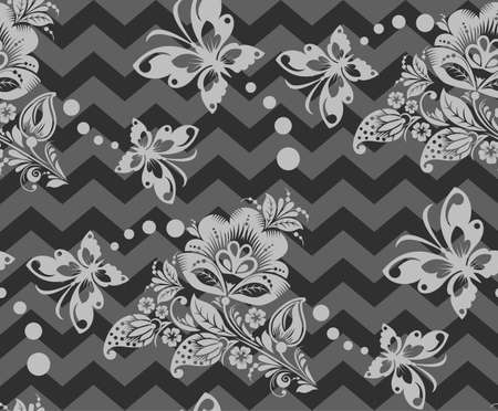 Vector Seamless Repeating zigzag Background - Chevron flower pattern Vector